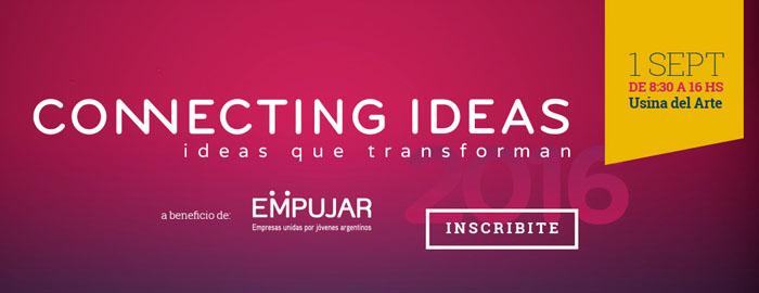 """El próximo jueves 1ro de septiembre, de 8:30 s 16:00 hs, en La Usina del Arte, se llevará a cabo la 4º edición de Connecting Ideas, bajo el lema """"Ideas que transforman"""